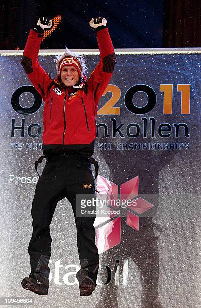 Thomas Morgenstern of Austria celebrates prior to receiving the gold medal won in the Men's Ski Jumping HS106 competition during the FIS Nordic World...