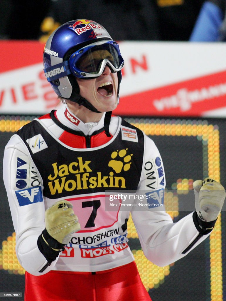 Thomas Morgenstern of Austria celebrates winning the FIS Ski Jumping World Cup event at the 58th Four Hills Ski Jumping Tournament on January 06, 2010 in Bischofshofen, Austria.
