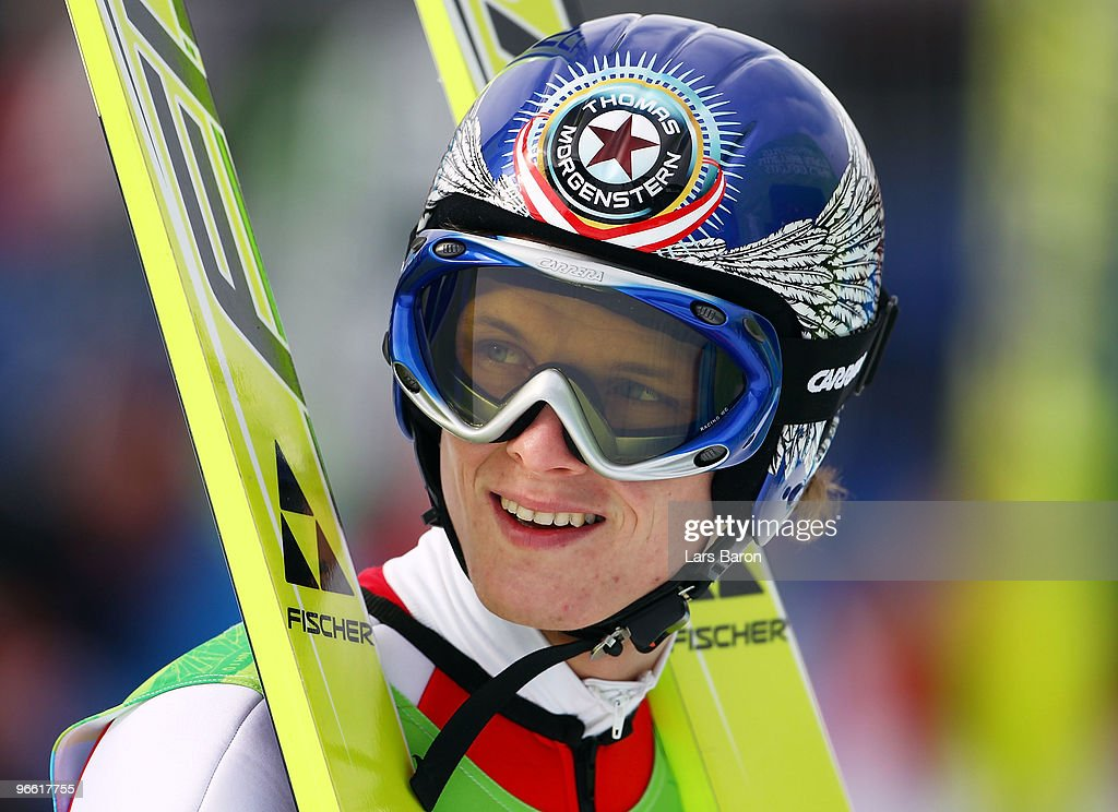 Thomas Morgenstern of Austria competes during the Ski Jumping Normal Hill Individual Qualification Round of the 2010 Winter Olympics at Whistler Olympic Park Ski Jumping Stadium on February 12, 2010 in Whistler, Canada.