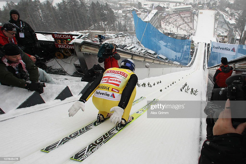 Thomas Morgenstern of Austria competes during the training for the FIS Ski Jumping World Cup event of the 59th Four Hills ski jumping tournament at Bergisel on January 2, 2011 in Innsbruck, Austria.