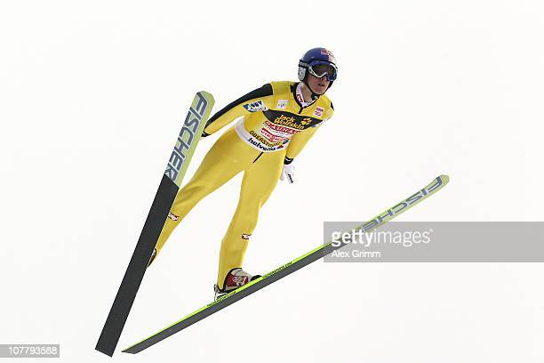Thomas Morgenstern of Austria competes during the training round for the FIS Ski Jumping World Cup event at the 59th Four Hills ski jumping...