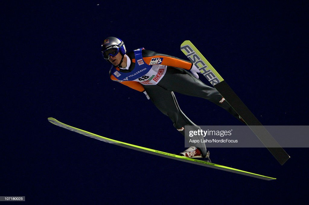 Thomas Morgenstern of Austria competes in the individual HS142 during the FIS Ski Jumping World Cup on November 28, 2010, in Kuusamo, Finland.