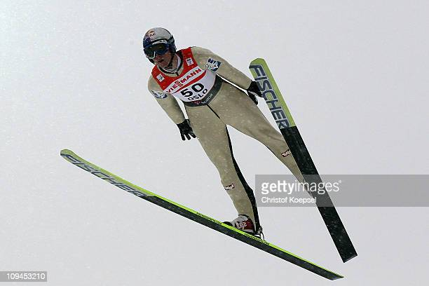 Thomas Morgenstern of Austria competes in the Men's Ski Jumping HS106 competition during the FIS Nordic World Ski Championships at Holmenkollen on...