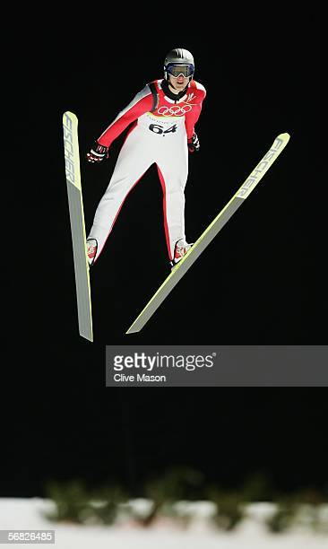 Thomas Morgenstern of Austria competes in the Normal Hill Individual Ski Jumping Qualifying on Day 1 of the 2006 Turin Winter Olympic Games on...