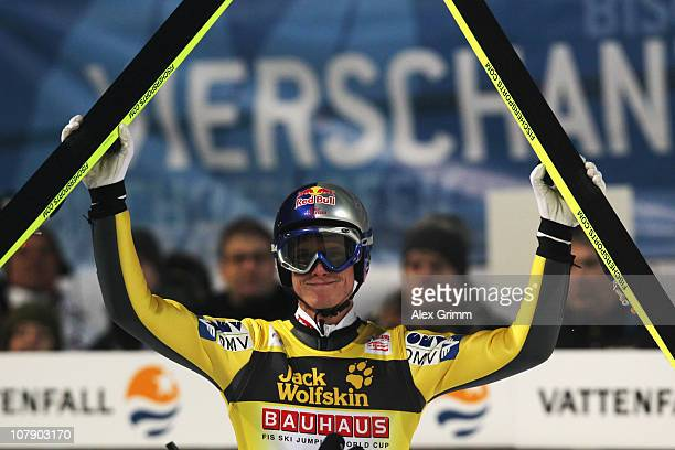 Thomas Morgenstern of Austria reacts after his first jump at the FIS Ski Jumping World Cup event of the 59th Four Hills ski jumping tournament at...