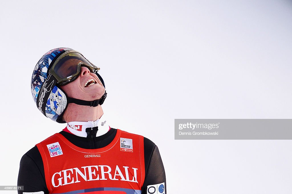 Thomas Morgenstern of Austria shows his frustration after his final jump at Olympia Skistadion on January 1, 2014 in Garmisch-Partenkirchen, Germany.