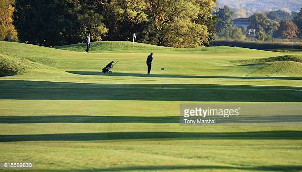 Thomas Muchmore of Kent chips onto the 1st green during the PGA Inter County Cup at The Belfry on October 19 2016 in Sutton Coldfield England
