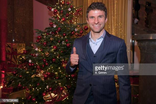 Thomas Mueller arrives for the FC Bayern Muenchen Christmas Party at Palais Lenbach on December 08 2018 in Munich Germany
