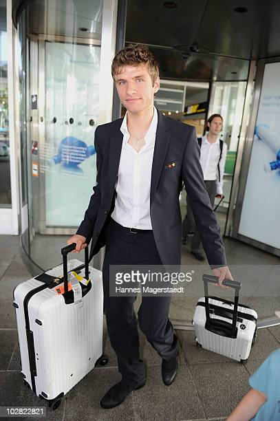 Thomas Mueller arrives the airport after the World Cup 2010 in Southafrica on July 12 2010 in MUNICH Germany