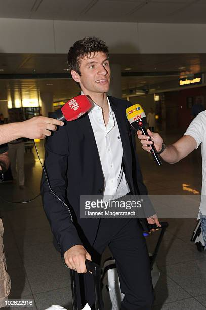 Thomas Mueller arrvies the airport after the World Cup 2010 in Southafrica on July 12 2010 in MUNICH Germany