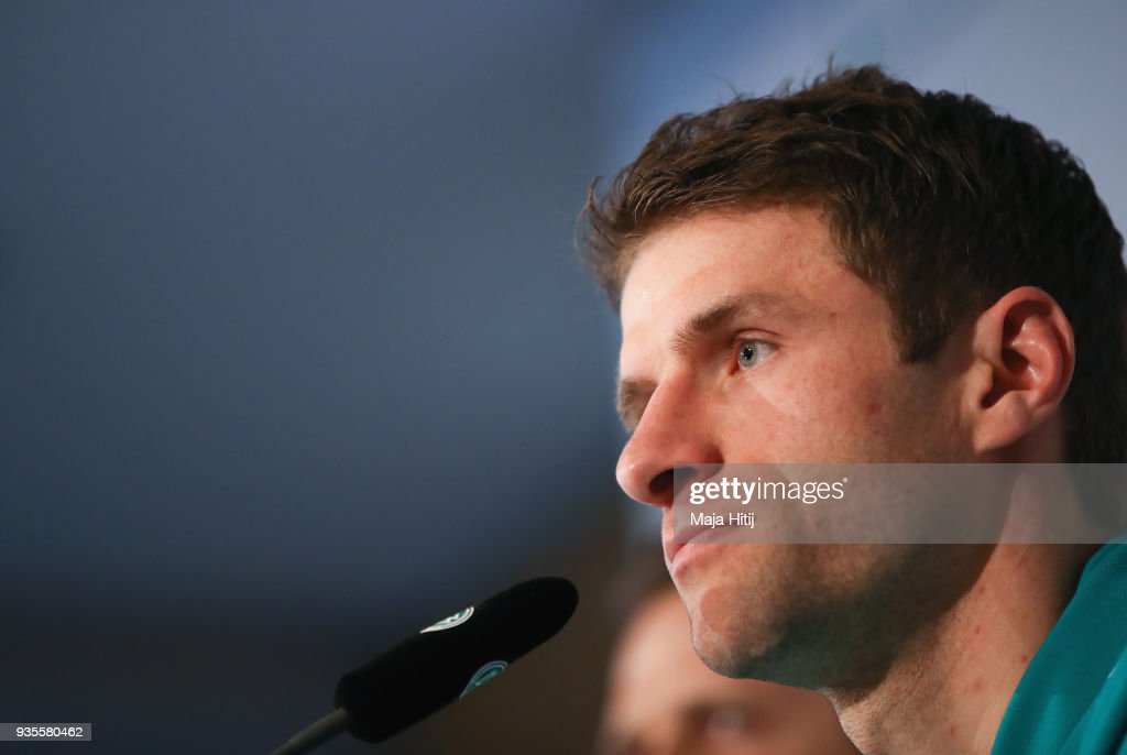 Thomas Mueller attends a Germany press conference ahead of their international friendly match against Spain at Hilton Hotel on March 21, 2018 in Duesseldorf, Germany.