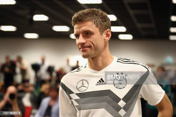 Thomas Mueller attends a Germany press conference at Johan Cruyff Arena on October 12 2018 in Amsterdam Netherlands
