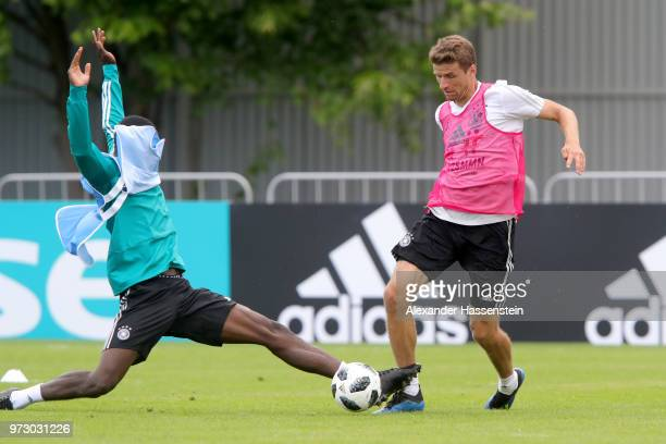 Thomas Mueller battles for the ball with Antonio Ruediger during the Germany training session ahead of the 2018 FIFA World Cup at CSKA Sports Base on...