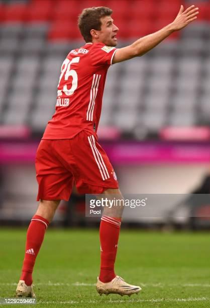 Thomas Mueller gestures during the German Bundesliga soccer match between FC Bayern Munich and Eintracht Frankfurt, in Munich, Germany, 24 October...