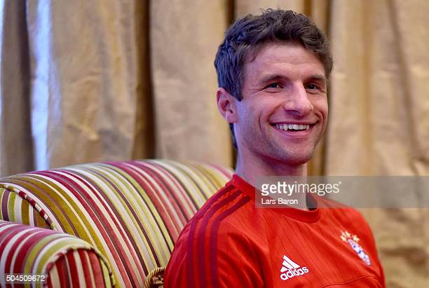 Thomas Mueller is seen during a media talk at day six of the Bayern Muenchen training camp at Aspire Academ on January 11 2016 in Doha Qatar