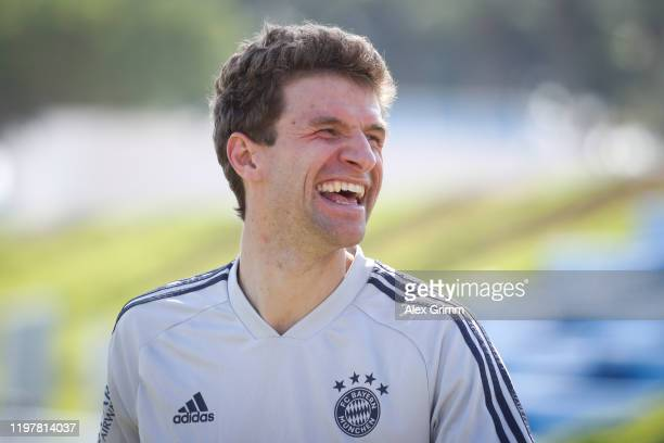 Thomas Mueller laughs during day three of the FC Bayern Muenchen winter training camp at Aspire Academy on January 06, 2020 in Doha, Qatar.