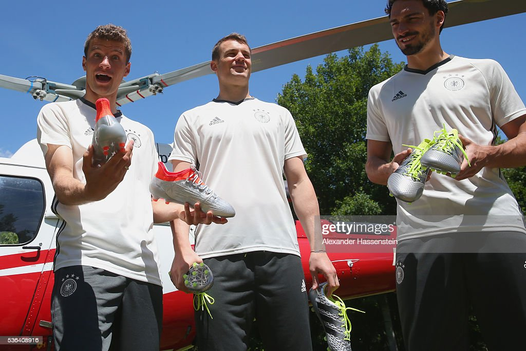 Skydive Team Deliver New Adidas Football Boots To Germany Players : News Photo