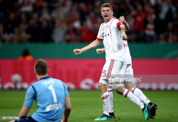 Thomas Mueller of Bayern celebrates after he scores the 3rd goal during the DFB Cup semi final match between Bayer 04 Leverkusen and Bayern Munchen...