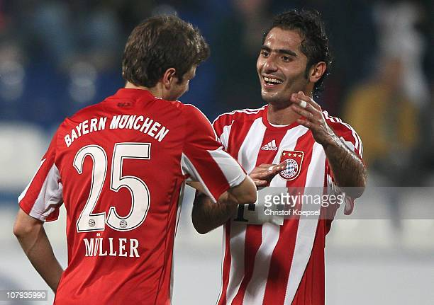 Thomas Mueller of Bayern celebrates the first goal with Hamit Altintop of Bayern during the friendly match between AlWakrah SC and FC Bayern Muenchen...