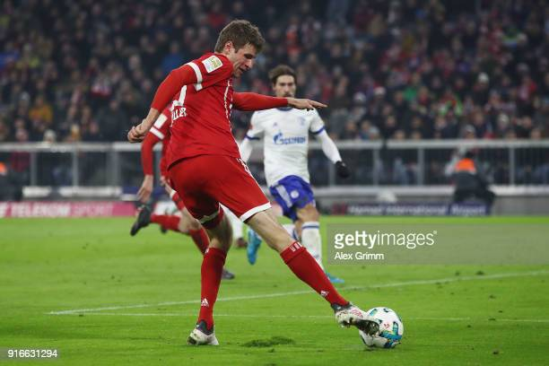 Thomas Mueller of Bayern Muenchen about to score a goal to make it 21 during the Bundesliga match between FC Bayern Muenchen and FC Schalke 04 at...