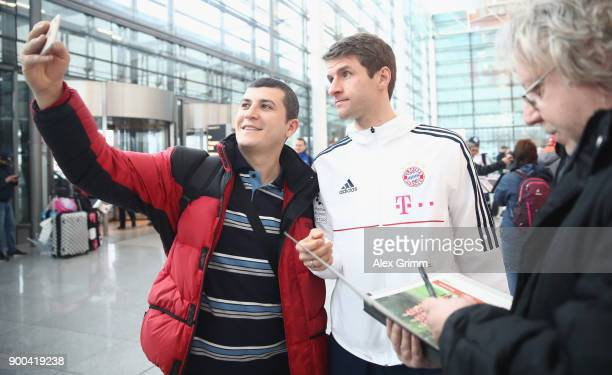 Thomas Mueller of Bayern Muenchen arrives at the airport for the departure to the team's training camp in Doha Qatar on January 2 2018 in Munich...