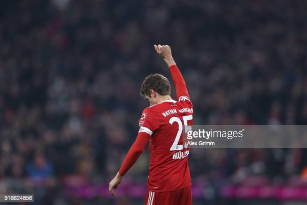 Thomas Mueller of Bayern Muenchen celebrates after he scored a goal to make it 21 during the Bundesliga match between FC Bayern Muenchen and FC...