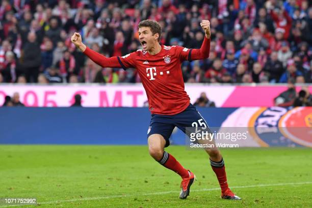Thomas Mueller of Bayern Muenchen celebrates after scoring his team's second goal during the Bundesliga match between FC Bayern Muenchen and Fortuna...