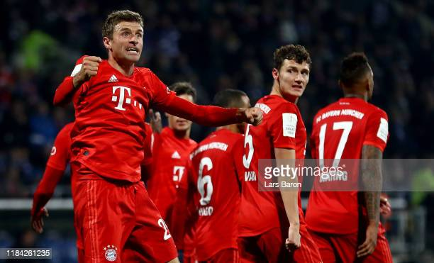 Thomas Mueller of Bayern Muenchen celebrates after scoring the winning goal during the DFB Cup second round match between VfL Bochum and Bayern...