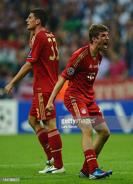 Thomas Mueller of Bayern Muenchen celebrates after scoring the opening goal during UEFA Champions League Final between FC Bayern Muenchen and Chelsea...