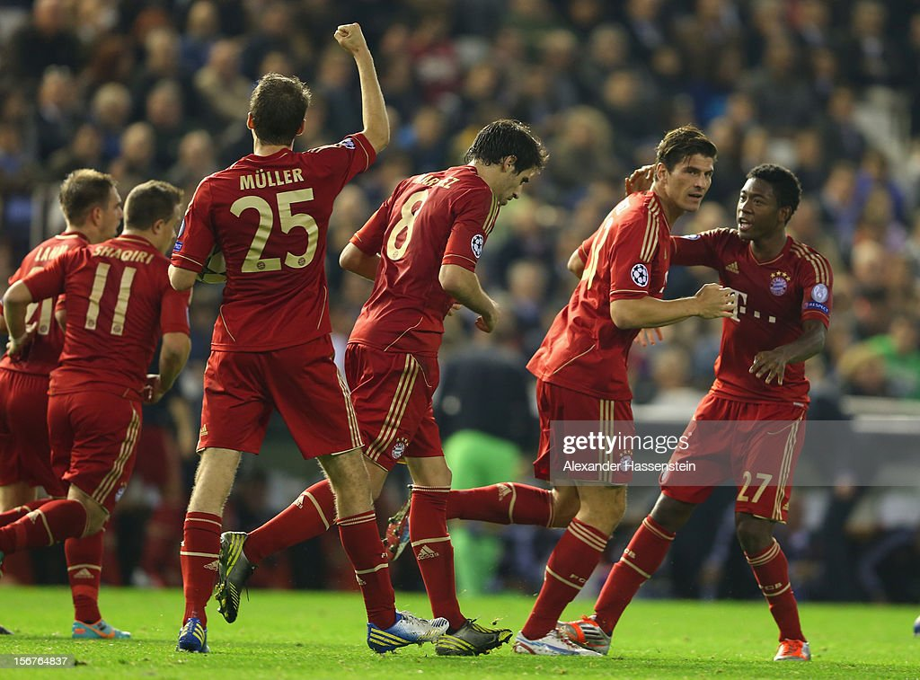 Thomas Mueller (3rd L) of Bayern Muenchen celebrates scoring his first team goal with his team mates during the UEFA Champions League group F match between Valencia FC and FC Bayern Muenchen at Estadio Mestalla on November 20, 2012 in Valencia, Spain.