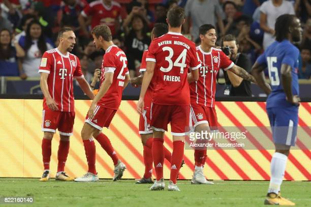 Thomas Mueller of Bayern Muenchen celebrates scoring the 2nd team goal with his team mate Franck Ribery during the International Champions Cup 2017...