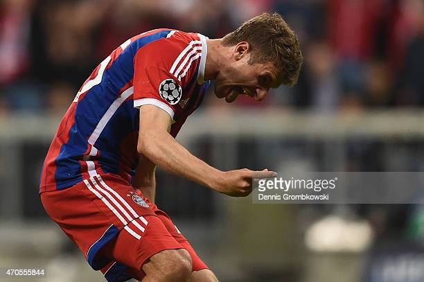 Thomas Mueller of Bayern Muenchen celebrates scoring their fourth goal during the UEFA Champions League Quarter Final Second Leg match between FC...