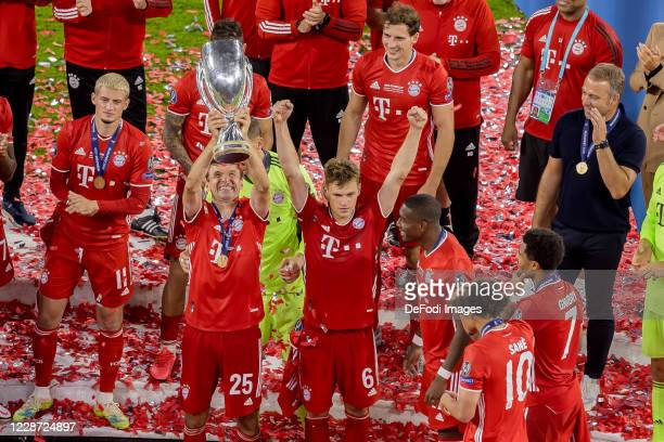 Thomas Mueller of Bayern Muenchen cheers after winning the Supercup after the UEFA Super Cup match between FC Bayern Munich and FC Sevilla at Puskas...
