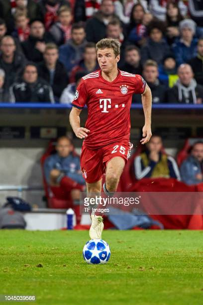 Thomas Mueller of Bayern Muenchen controls the ball during the Group A match of the UEFA Champions League between Borussia Dortmund and AS Monaco at...