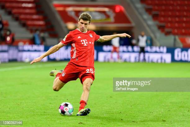 Thomas Mueller of Bayern Muenchen controls the ball during the Bundesliga match between Bayer 04 Leverkusen and FC Bayern Muenchen at BayArena on...