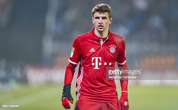 Thomas Mueller of Bayern Muenchen during to the Bundesliga match between SV Darmstadt 98 and Bayern Muenchen at Stadion am Boellenfalltor on December...