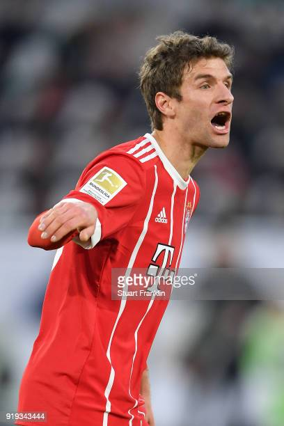 Thomas Mueller of Bayern Muenchen gestures during the Bundesliga match between VfL Wolfsburg and FC Bayern Muenchen at Volkswagen Arena on February...