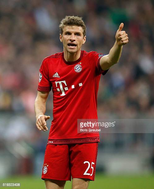 Thomas Mueller of Bayern Muenchen gestures during the UEFA Champions League quarter final first leg match between FC Bayern Muenchen and SL Benfica...