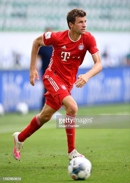 Thomas Mueller of Bayern Muenchen in action during the Bundesliga match between VfL Wolfsburg and FC Bayern Muenchen at Volkswagen Arena on June 27,...