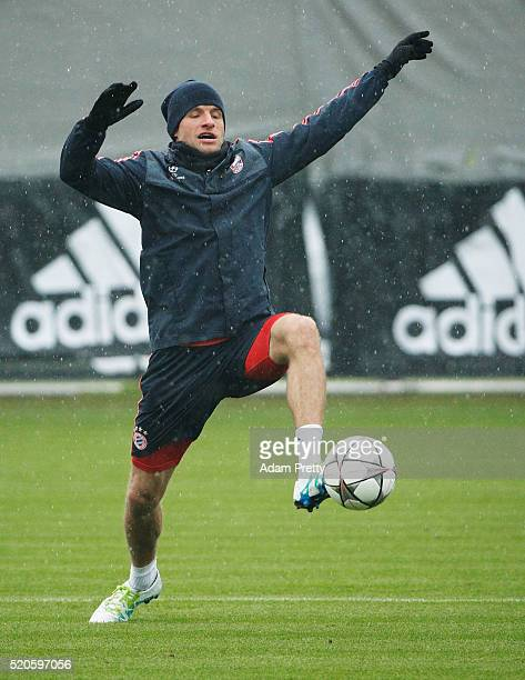 Thomas Mueller of Bayern Muenchen in action during the FC Bayern Muenchen training session ahead of their UEFA Champions League quarter final second...