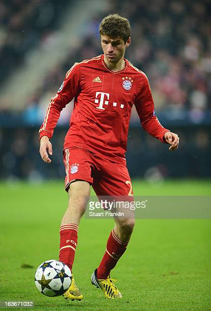 Thomas Mueller of Bayern Muenchen in action during the UEFA Champions League Round of 16 second leg match between Bayern Muenchen and Arsenal at...