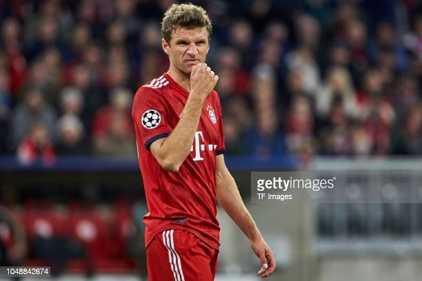 Thomas Mueller of Bayern Muenchen looks on during the Group A match of the UEFA Champions League between Borussia Dortmund and AS Monaco at Signal...