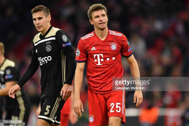 Thomas Mueller of Bayern Muenchen looks on during the Group E match of the UEFA Champions League between FC Bayern Muenchen and Ajax at Allianz Arena...