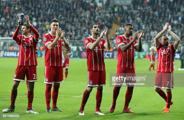 Thomas Mueller of Bayern Muenchen Niklas Suele of Bayern Muenchen Javi Martinez of Bayern Muenchen Jerome Boateng of Bayern Muenchen and Franck...