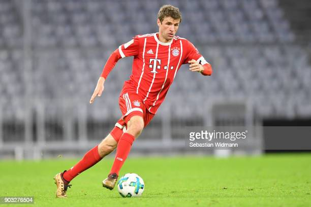 Thomas Mueller of Bayern Muenchen plays the ball during the friendly match between Bayern Muenchen and SG Sonnenhof Grossaspach at Allianz Arena on...