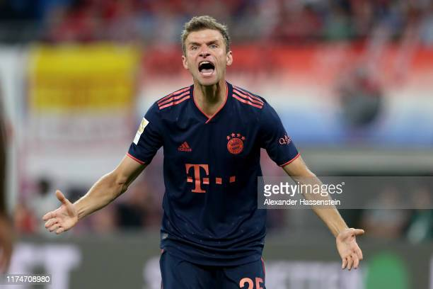 Thomas Mueller of Bayern Muenchen reacts during the Bundesliga match between RB Leipzig and FC Bayern Muenchen at Red Bull Arena on September 14,...