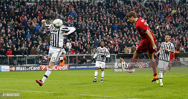 Thomas Mueller of Bayern Muenchen scores his team's second goal during the UEFA Champions League round of 16 second leg match between FC Bayern...