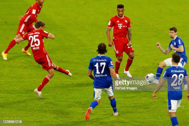 Thomas Mueller of Bayern Muenchen scores his team's seventh goal during the Bundesliga match between FC Bayern Muenchen and FC Schalke 04 at Allianz...