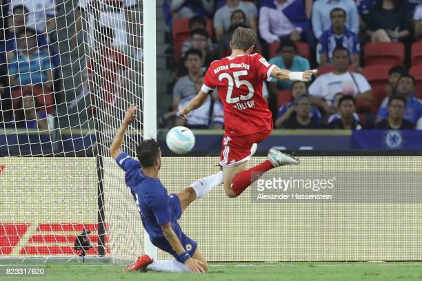 Thomas Mueller of Bayern Muenchen scores the opening goal during the International Champions Cup 2017 match between Bayern Muenchen and Chelsea FC at...