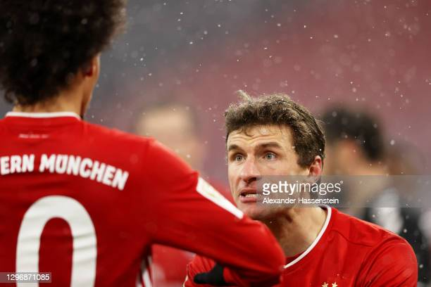 Thomas Mueller of Bayern Munich celebrates after scoring their team's second goal during the Bundesliga match between FC Bayern Muenchen and...